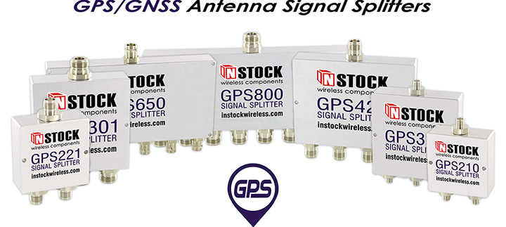 A collage of INSTOCK Wireless GPS antenna signal splitters
