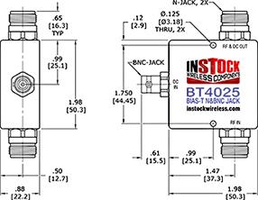 Coaxial Bias Tee N-type & BNC Outline Drawing