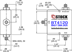 Coaxial Bias Tee SMA Outline Drawing