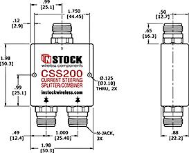 Current steering, DC redundant, fail-safe L-Band & GPS splitter Outline Drawing