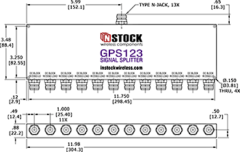 GPS Antenna Signal Splitter, 12 Way, N Type Outline Drawing