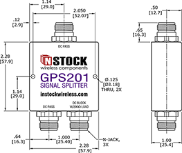 Weatherproof GPS Antenna Signal Splitter, 2 Way, N Type Outline Drawing