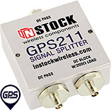 GPS211, 2-way GPS antenna signal splitter with SMA coaxial connectors spanning 1-2 GHz