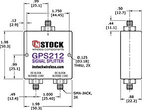 GPS Antenna Signal Splitter, 2 Way, SMA Outline Drawing