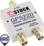 GPS220, 2-way GPS antenna signal splitter with TNC coaxial connectors spanning 1-2 GHz