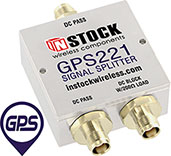 GPS221, 2-way GPS antenna signal splitter with TNC coaxial connectors spanning 1-2 GHz
