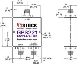 IP67 Outdoor Weatherproof GPS Splitter TNC-jack Outline Drawing