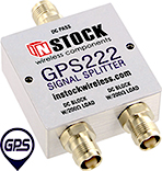 GPS222, 2-way GPS antenna signal splitter with TNC coaxial connectors spanning 1-2 GHz