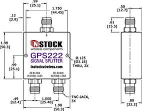 GPS Antenna Signal Splitter, 2 Way, TNC - Outline Drawing