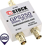 GPS250, 2-way GPS antenna signal splitter with BNC coaxial connectors spanning 1-2 GHz