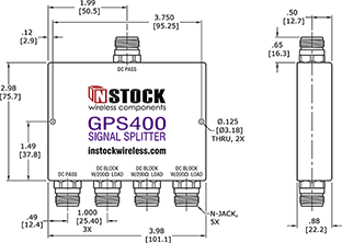 GPS Signal Splitter, 4 Way, N Type - Outline Drawing