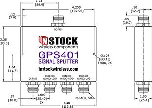 Weatherproof GPS Signal Splitter, 4 Way, N Type - Outline Drawing
