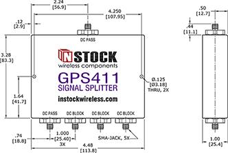 GPS Passive Splitter, SMA, 4 Way, Outline Drawing