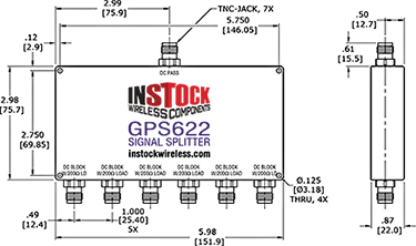 GPS Antenna Signal Splitter, 6 Way, TNC - Outline Drawing