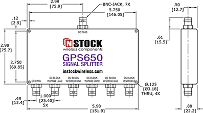 GPS Antenna Signal Splitter, 6 Way, BNC - Outline Drawing