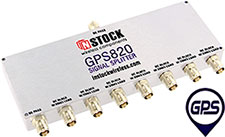 GPS820, 8-way GPS antenna signal splitter with TNC coaxial connectors spanning 1-2 GHz
