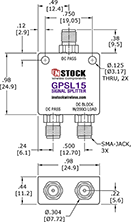 Micro-sized GPS Antenna Signal Splitter, 2 Way, SMA - Outline Drawing