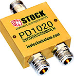 PD1020, 2-way power divider combiner with N-type coaxial connectors spanning 698-2700 MHz