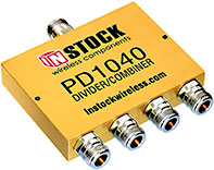 PD1040, 4-way power divider combiner with N-type coaxial connectors spanning 698-2700 MHz