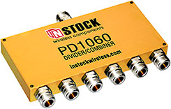 PD1060, 6-way power divider combiner with N-type coaxial connectors spanning 698-2700 MHz