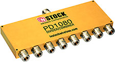 PD1080, 8-way power divider combiner with N-type coaxial connectors spanning 698-2700 MHz