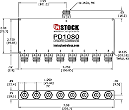 8-Way N-Jack Power Divider Outline Drawing