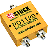 PD1120, 2-way power divider combiner with SMA coaxial connectors spanning 698-2700 MHz