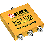 PD1130, 3-way power divider combiner with SMA coaxial connectors spanning 698-2700 MHz