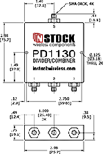3 Way SMA Power Divider Combiner Outline Drawing