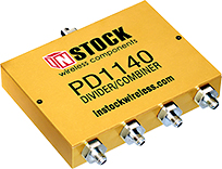 PD1140, 4-way power divider combiner with SMA coaxial connectors spanning 698-2700 MHz