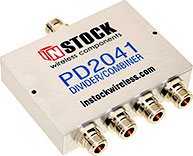 PD2041, IP67 outdoor weatherproof 4-way power divider combiner with N-type coaxial connectors spanning 698-2700 MHz