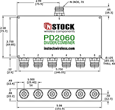 6-Way, N-Jack, RoHS Power Divider Combiner