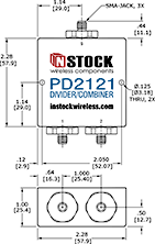 Outdoor IP67 Rated Power Divider Combiner, 2 Way, SMA - Outline Drawing