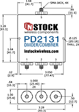 Waterproof and Weatherproof, IP67 Rated, 3 Way, SMA, Power Splitter Outline Drawing