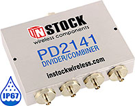PD2141, IP67 outdoor weatherproof 4-way power divider combiner with SMA coaxial connectors spanning 698-2700 MHz