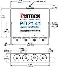 Outdoor, Weatherproof, IP67 Rated RF Splitter Combiner, 4 Way, SMA - Outline Drawing