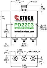 RF Splitter Combiner SMA-jack and N-jack Outline Drawing