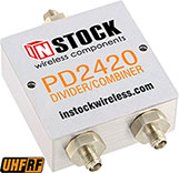 PD2420, UHF/RFID 2-way power divider combiner with SMA coaxial connectors spanning 350-1000 MHz