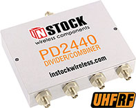 PD2440, UHF/RFID 4-way power divider combiner with SMA coaxial connectors spanning 350-1000 MHz