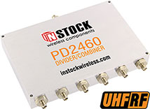 PD2460, UHF/RFID 6-way power divider combiner with SMA coaxial connectors spanning 350-1000 MHz