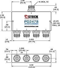 4-Way, IP67, 2400-6000 MHz N-Jack Power Splitter Combiner Outline Drawing