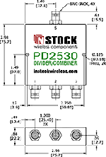 RoHS Power Divider Combiner, 3-Way, BNC Outline Drawing