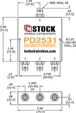 TETRA, UHF, RFID Splitter Combiner BNC-jack Outline Drawing