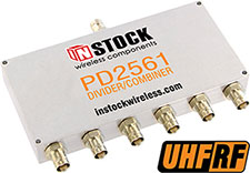 PD2561, UHF/RFID 6-way power divider combiner with BNC coaxial connectors spanning 350-1000 MHz