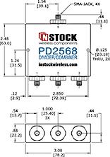 3-Way, IP67, 2400-6000 MHz SMA Power Splitter Combiner Outline Drawing