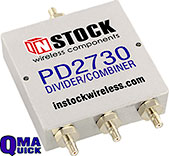 PD2730, 3-way power divider combiner with QMA coaxial connectors spanning 698-2700 MHz