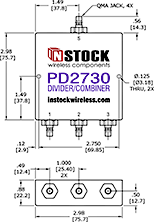 RF Splitter Combiner QMA-jack Outline Drawing