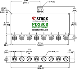 RF Splitter Combiner N-jack and N-plug Outline Drawing