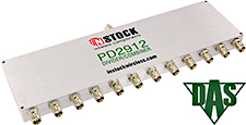 PD2912, RoHS 12-way power divider combiner with TNC coaxial connectors spanning 698-2700 MHz