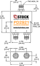 TETRA, UHF, RFID Splitter Combiner TNC-jack Outline Drawing